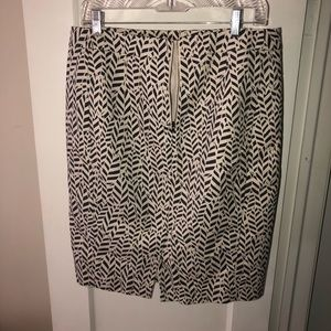 Ann Taylor Loft grey & cream pencil skirt 12